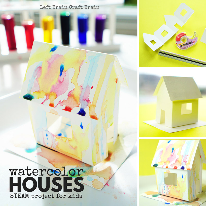 watercolor houses STEAM project for kids