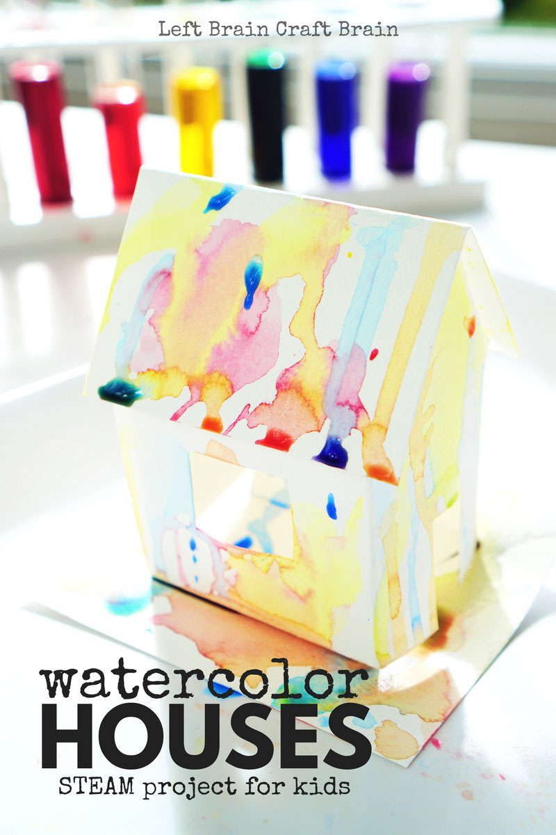 These watercolor paper houses are a perfect STEAM project because they combine engineering and art in design.