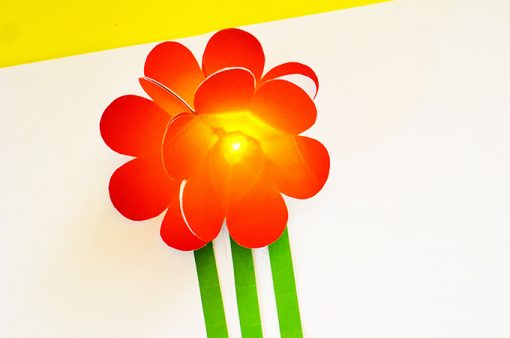 Light Up & Pop Up Flower Circuit Card