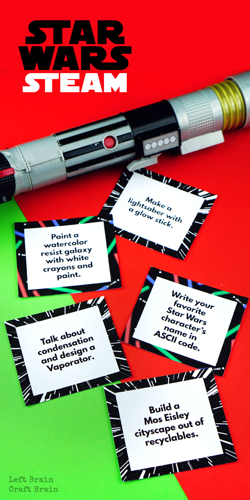 Star Wars fans, test your knowledge of the movies while having fun with science, tech, engineering, art, & math with these Star Wars STEAM Challenge Cards.