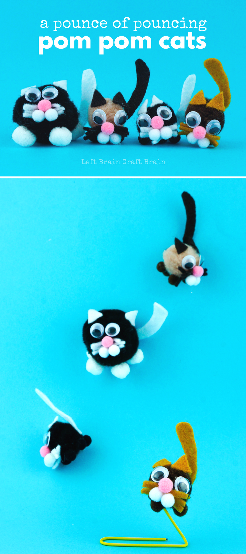 This adorable pouncing pom pom cats craft is actually an engineering project in disguise.