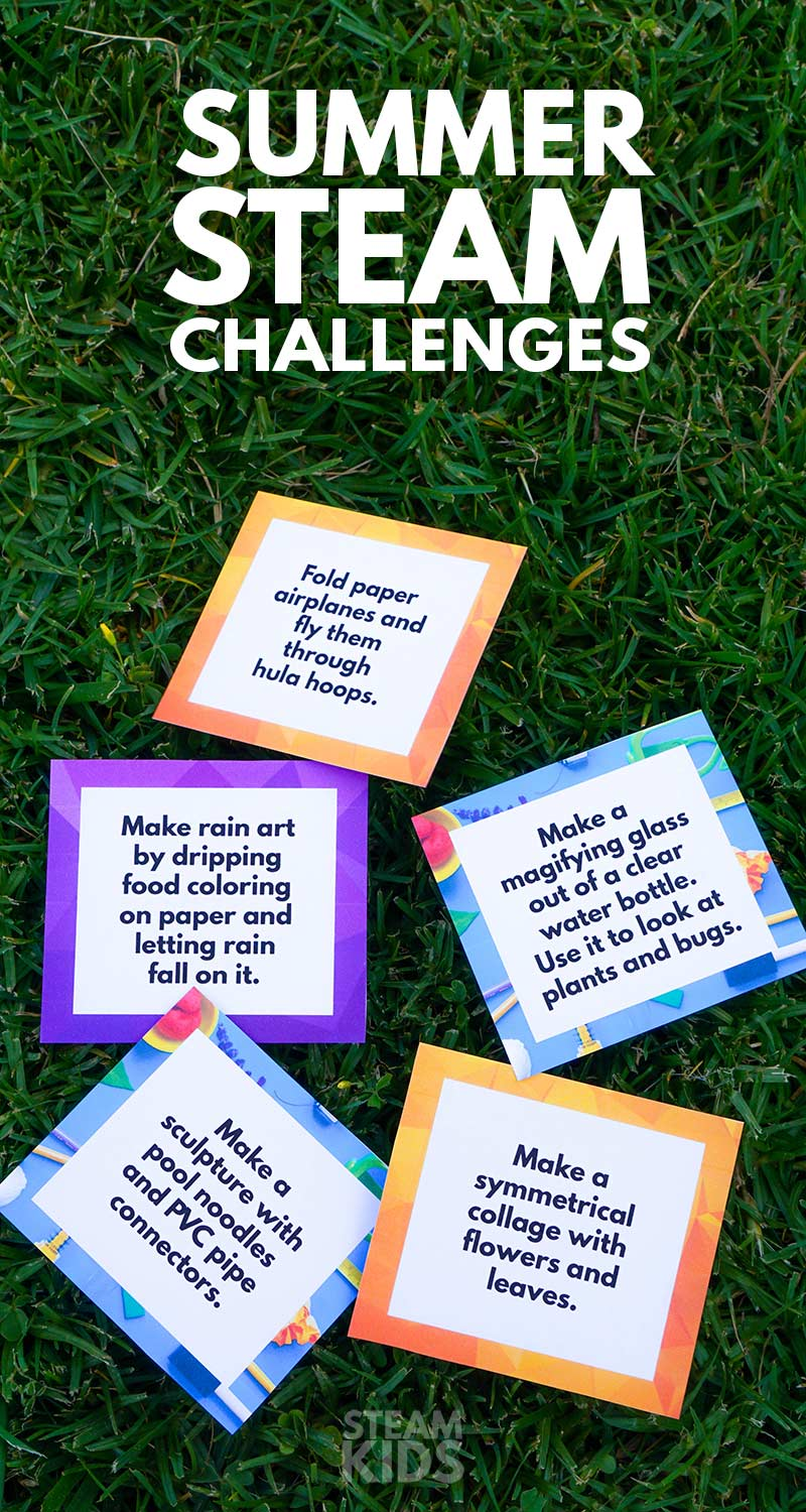Get outside and play while you have fun with some science, technology, engineering, art and math with these Summer STEAM Challenges for Kids.