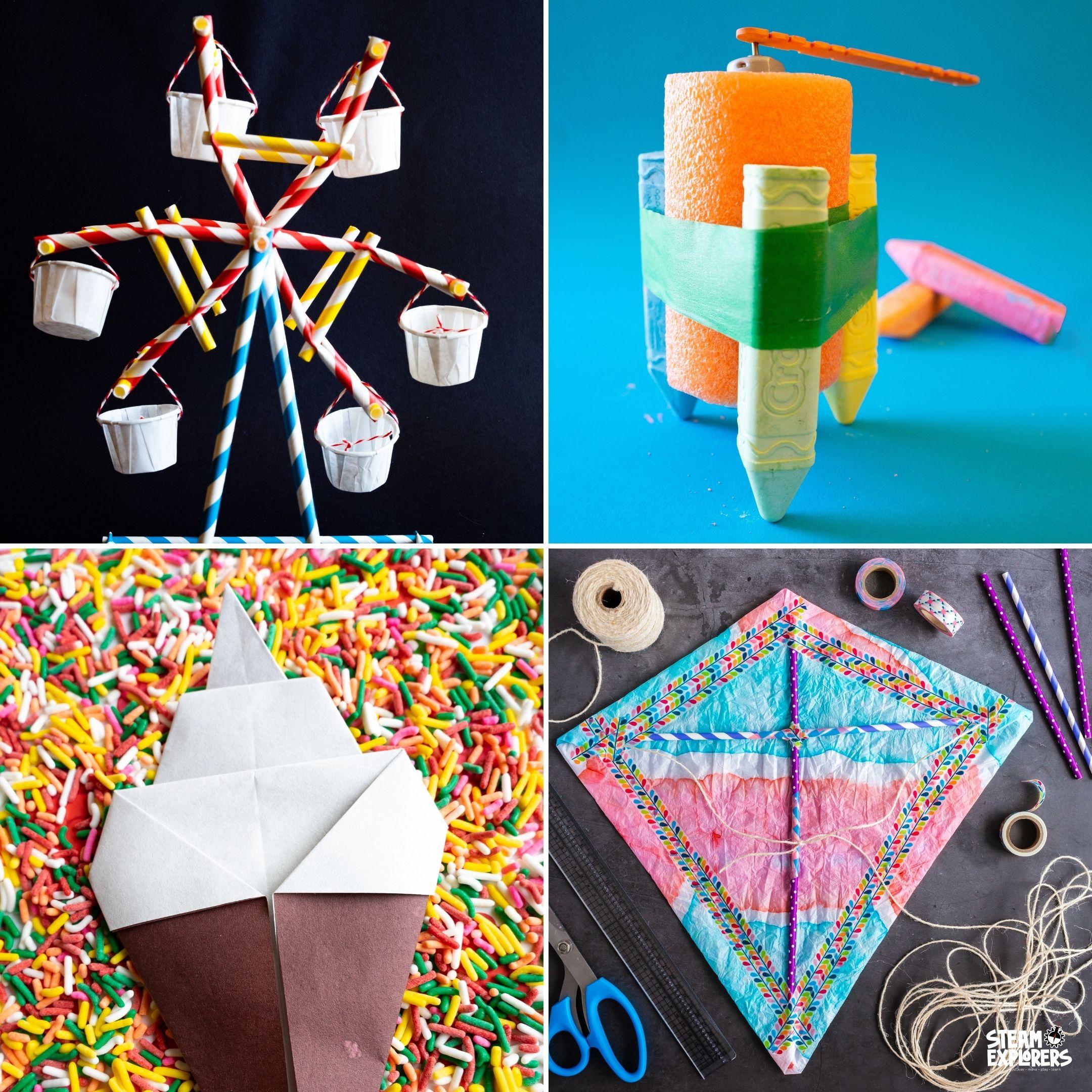 straw ferris wheel, chalk bot, ice cream cone origami, tie dyed paper kite collage