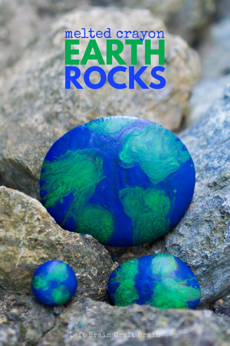 These super easy and super fun Earth Melted Crayon Rocks are a great craft for Earth Day or any other day of the year that you're celebrating Mother Earth.