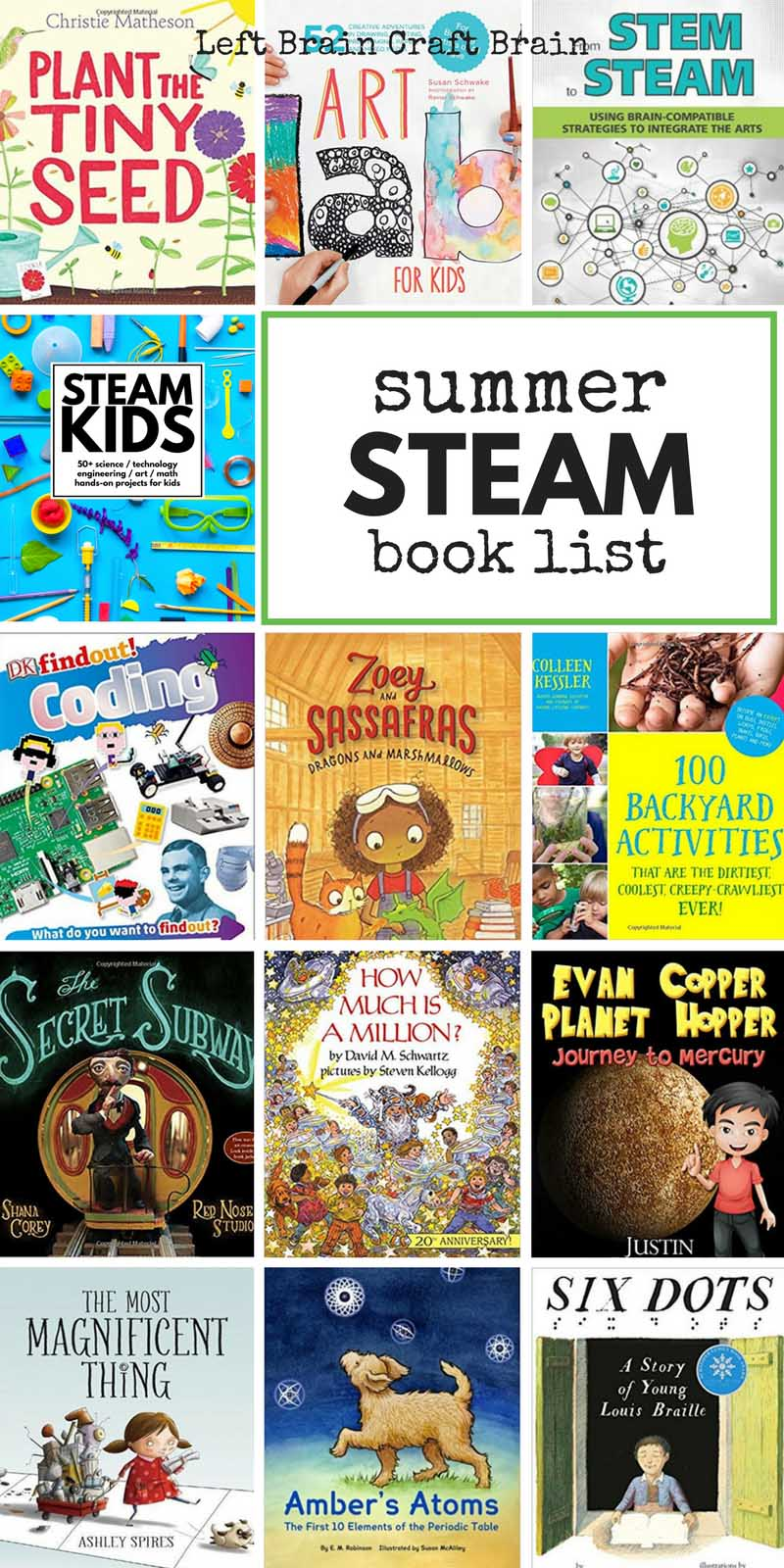 Check out this summer STEAM book list for cool activity, fiction and non-fiction books packed with science, tech, engineering, art, & math fun for kids.