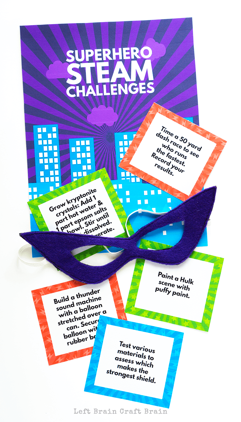 Inspire the superhero in your child with these fun Superhero STEAM Challenge Cards that combine their favorite characters with science, coding, math, and more!