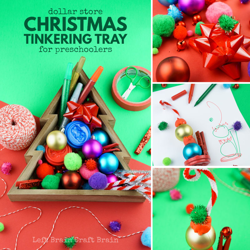 Give your kids an invitation to create this holiday with a fun (and inexpensive) Dollar Store Christmas Tinkering Tray.