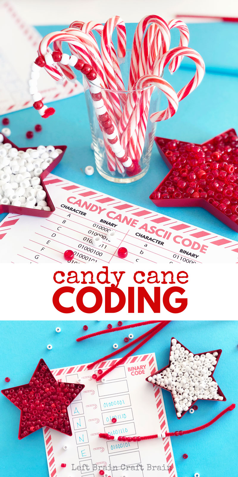 This Candy Cane Coding STEAM activity for kids! It teaches kids the basics of computer programming in a fun and festive craft. Christmas STEM & STEAM!