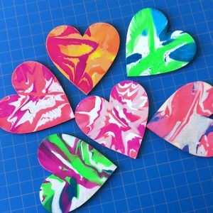 Gorgeous Spin Art Hearts Painting Activity for Kids