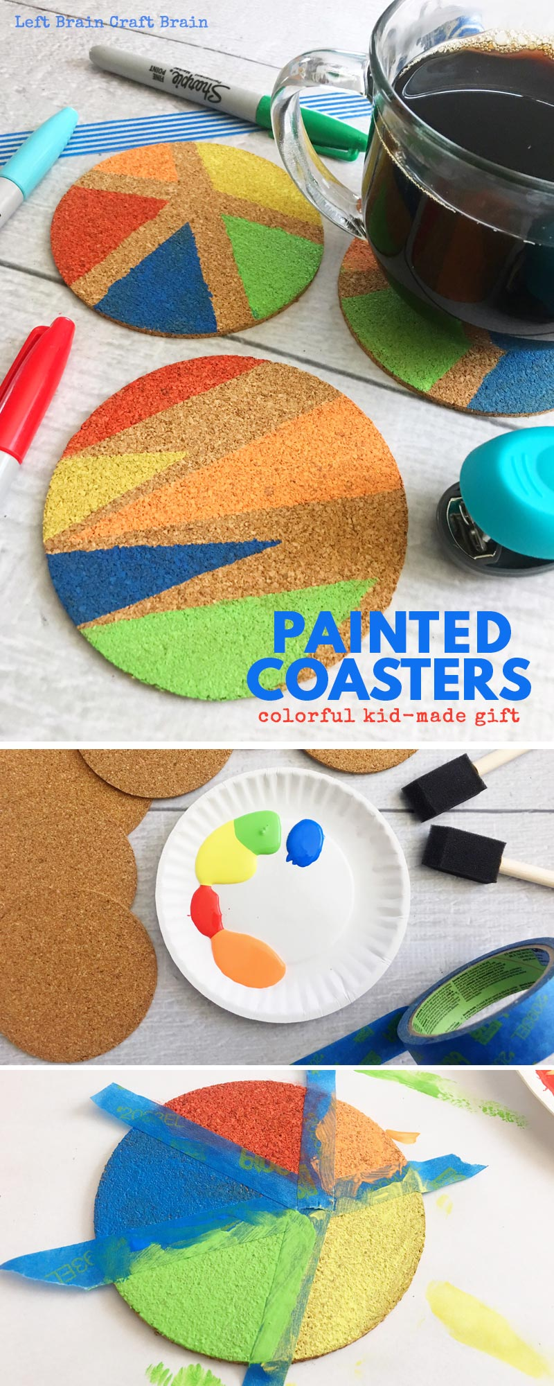 Create these beautiful DIY painted coasters for your Mother's Day gift or Father's Day gift! It's a math art activity for your creative kids that like creating homemade gifts.