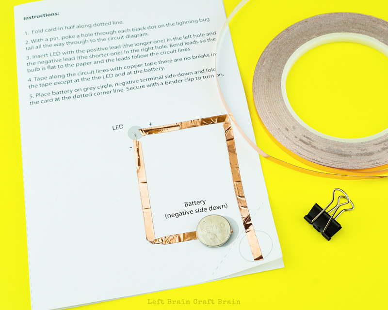 Build the paper circuit for the lightning bug paper circuit card.