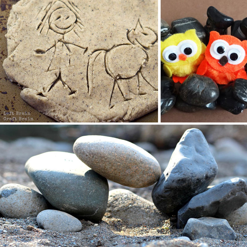 Rock activities like rock balancing, rock towers, and petroglyph play dough