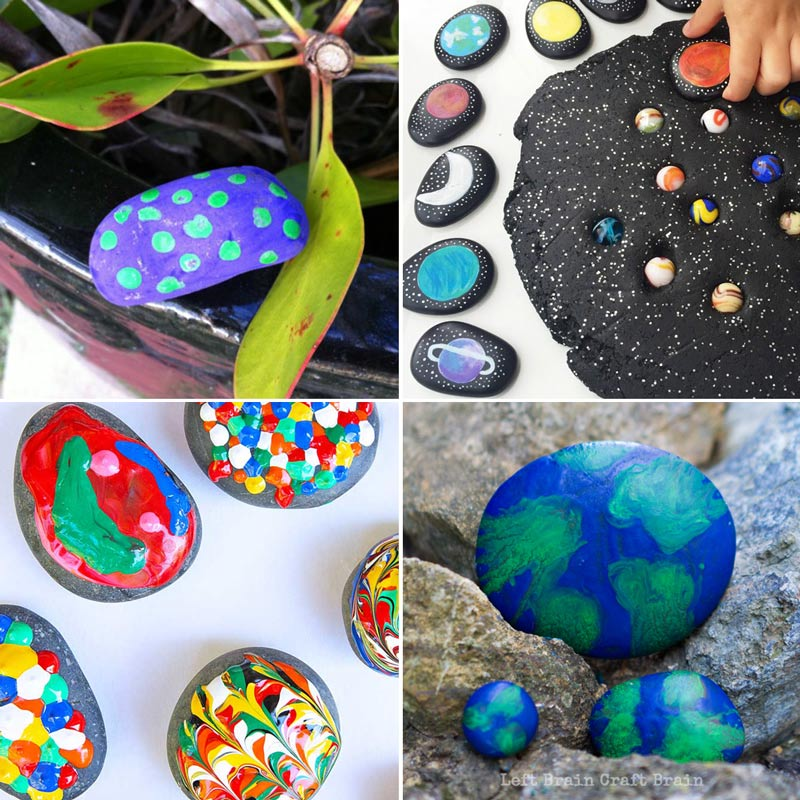 Rock crafts like earth rocks, puffy painted rocks, garden rocks, and space story stones