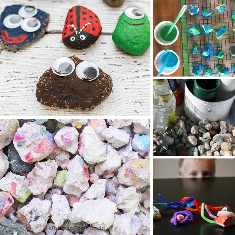 Rock crafts like pet rocks, chalk rocks, painted rocks, rock band, googly eye rocks