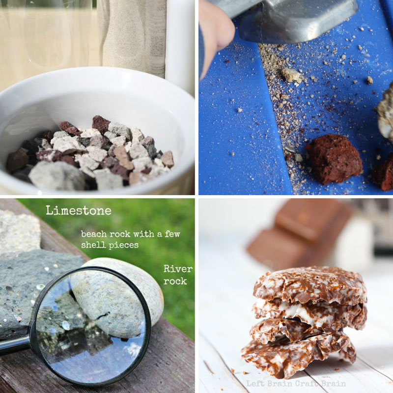 Rock science like chocolate rocks, rock exploration, make your own rock, rock demolition