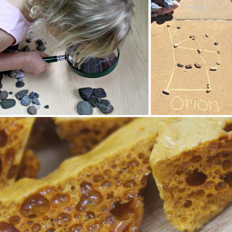Rock science like rock exploration, lava toffee, and rock constellations