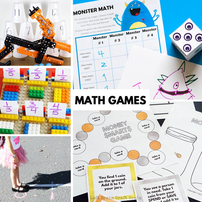 fun math games like money smarts game, monster math, lego math, number line math, and switchgrip math