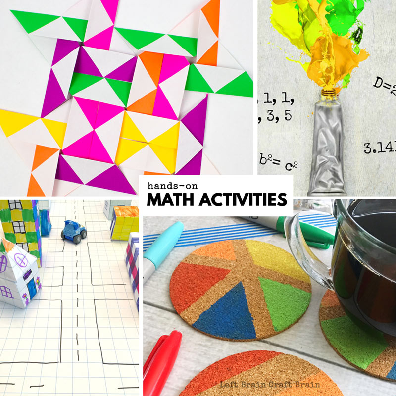 hands-on math activities like paper quilts, learning math by painting, perimeter math, and math painted coasters