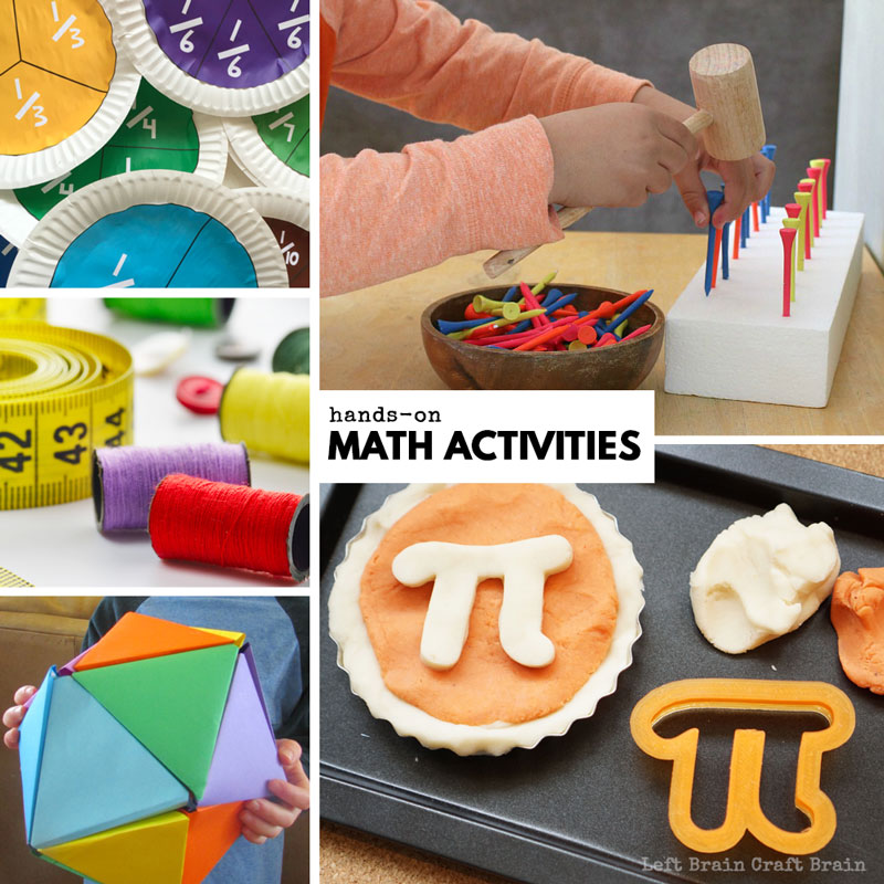 hands-on math activities like Pi Day pie playdough, golf tee math, fraction paper plate flowers, sewing math, and paper dodecahedrons