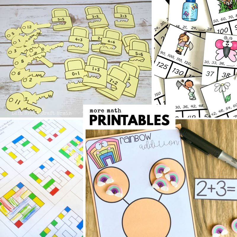 math printables like rainbow math, clothespin clip on addition, lock and key printables, and color mazes. Fun math activities for kids.