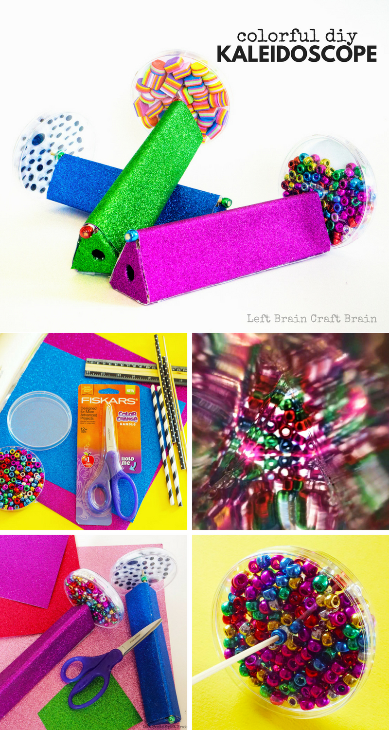 Make this spinning and colorful DIY Kaleidoscope filled with beads or other trinkets. It's a fun makerspace or STEAM project made with cardboard, mirrored paper, scrapbook paper, and petri dishes. Includes a printable template to make the build fun and successful.