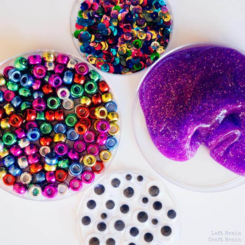 beads, slime, googly eyes, sequins