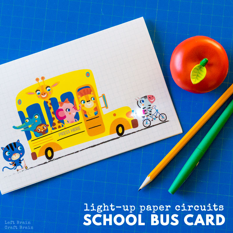 Have you been looking for fun and different craft projects to do with the kids? Try paper circuits! They're a great way to learn about electricity while making a fun paper card. This Light-Up Paper Circuits School Bus card is perfect for back to school or any time of the year STEM & STEAM fun.