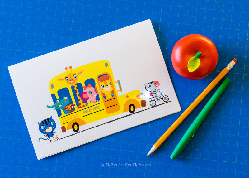 the completed light-up paper circuits school bus card