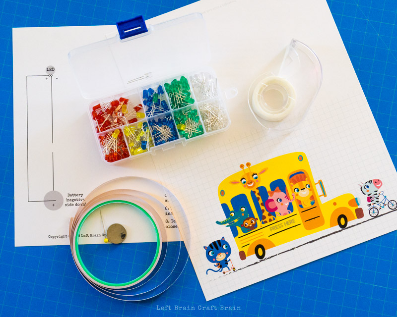 supplies to make a light-up paper circuits school bus car