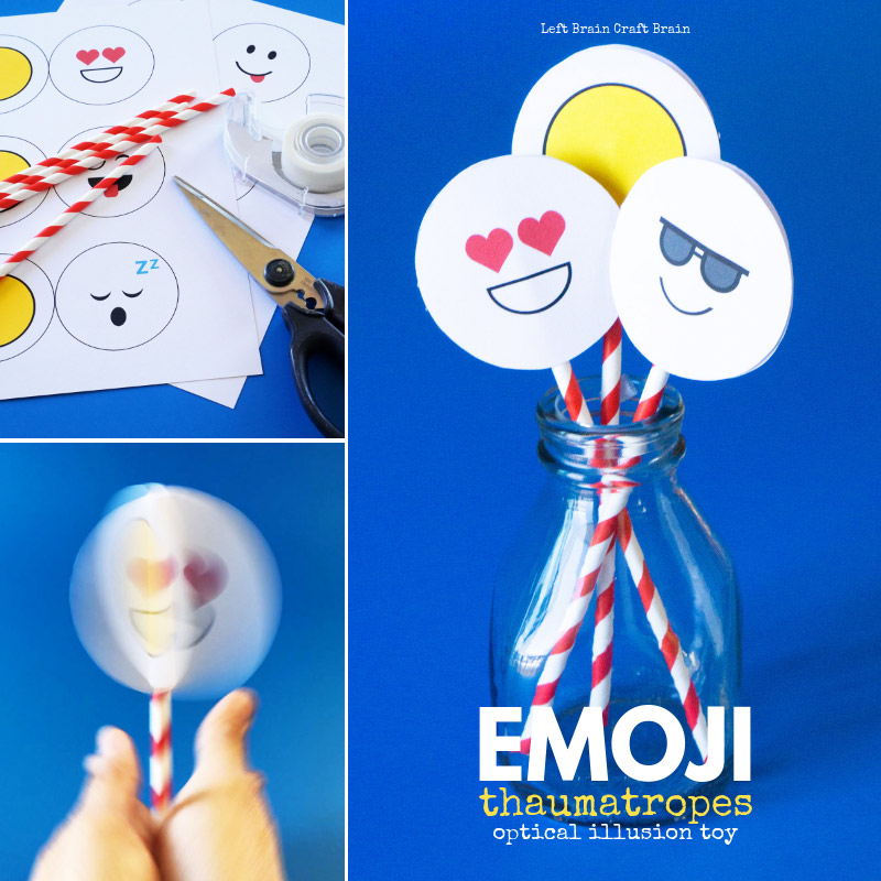 Fool your eyes with these Emoji Thaumatrope Optical Illusion Toys. Make the emoji version or draw your own in this fun STEM / STEAM (science, technology, engineering, art, and math) activity for kids.