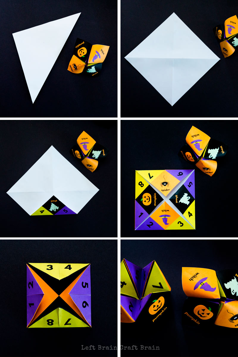 Halloween jokes cootie catcher step by step instructions
