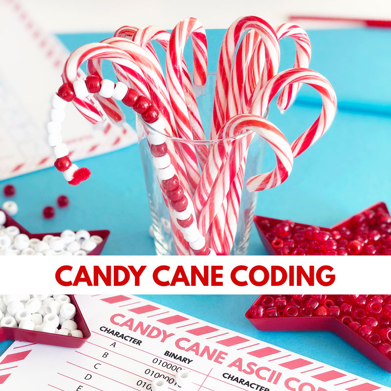 candy cane coding bead craft with binary code