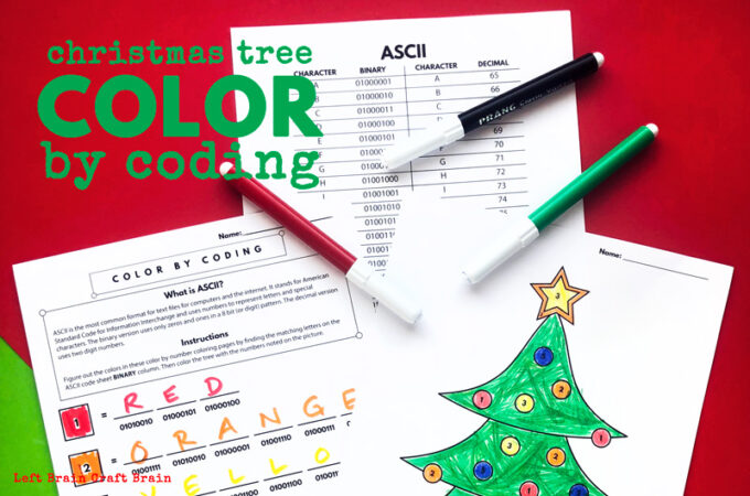Christmas Tree Color by Coding Christmas Coloring Page