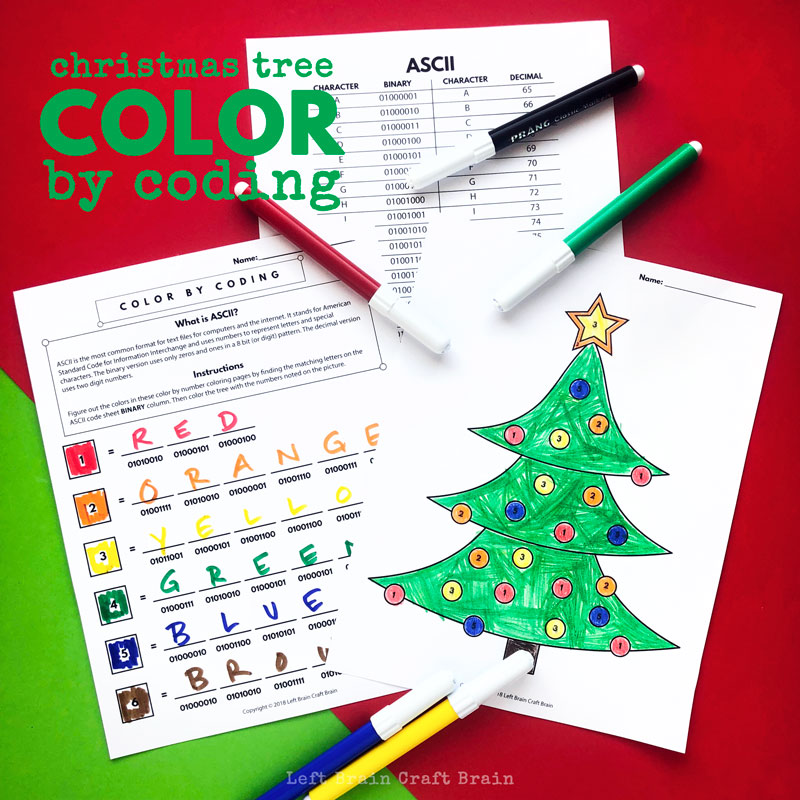 Christmas Tree Color By Coding Christmas Coloring Page Left Brain Craft Brain