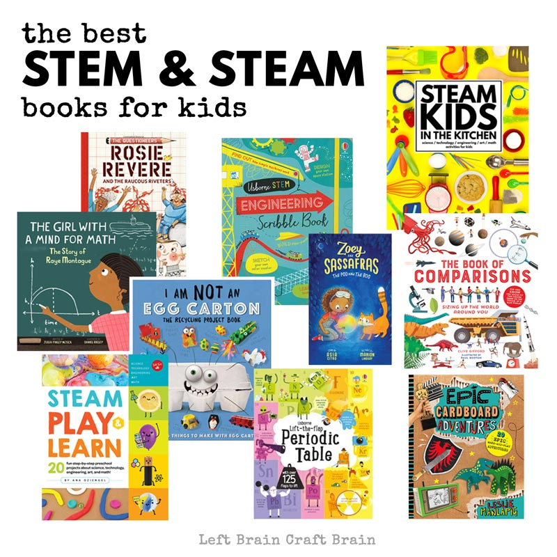 Here's a list of the best STEM books and STEAM books for kids. Hands-on activity books, fiction, non-fiction, crafts, and more loaded with science, technology, engineering, art, and math. AND FUN! They make perfect gifts for the holidays and birthdays.