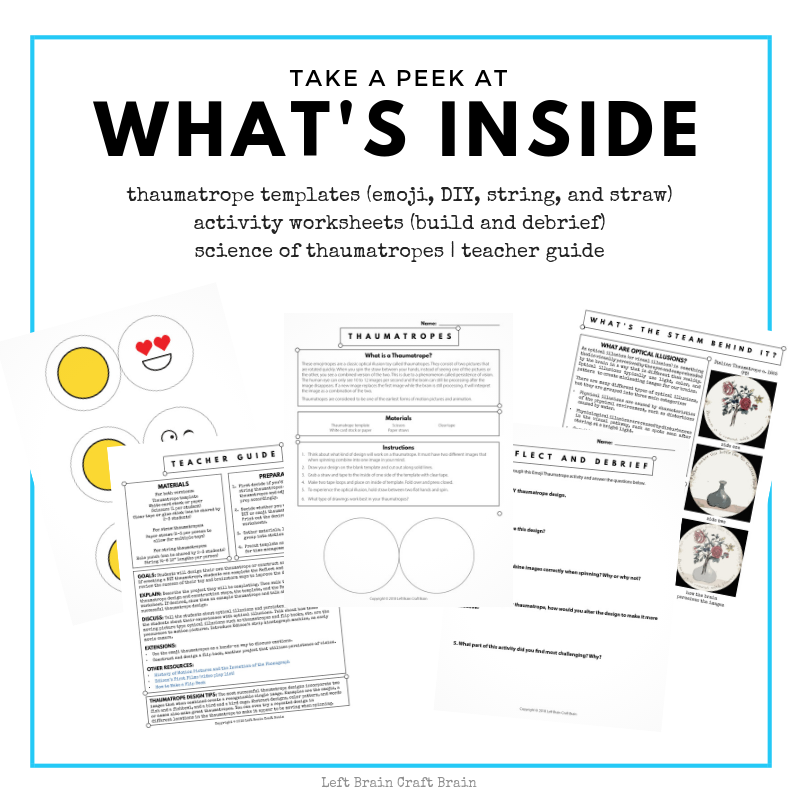 Thaumatrope Activity Pack Printable