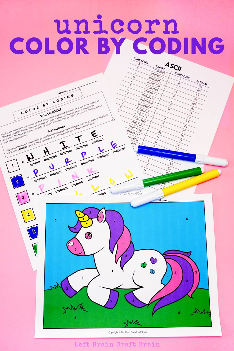 - Color By Coding Unicorn Coloring Page - Left Brain Craft Brain
