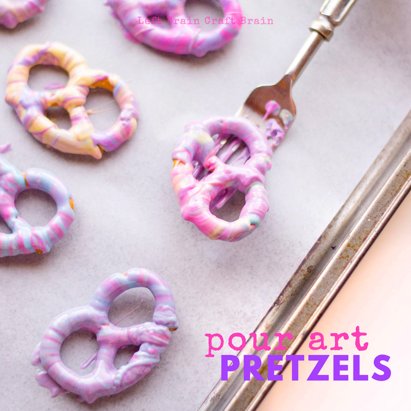 These colorful pour art white chocolate covered pretzels are a beautiful addition to any cookie tray. Perfect for Christmas, unicorn birthday parties, or any special occasion. Candy melts make them easy.