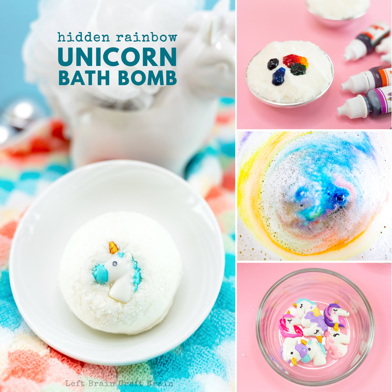 hidden rainbow unicorn diy bath bomb
