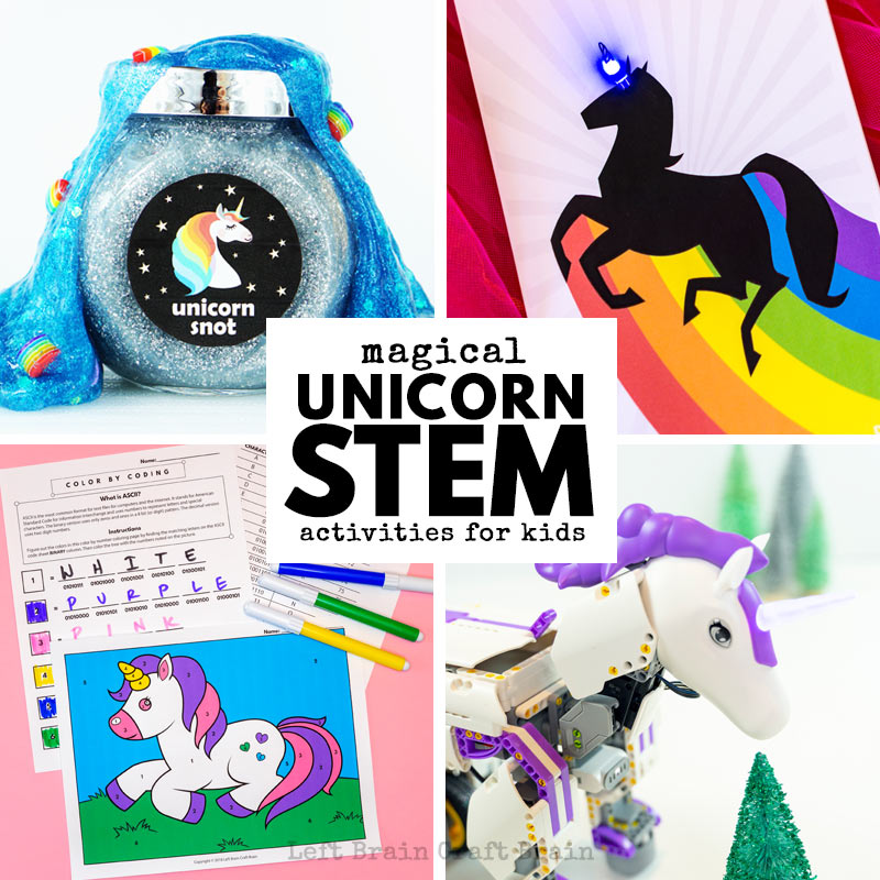 Kids will love these unicorn STEM activities like unicorn robots, unicorn science experiments, unicorn coding, and more!
