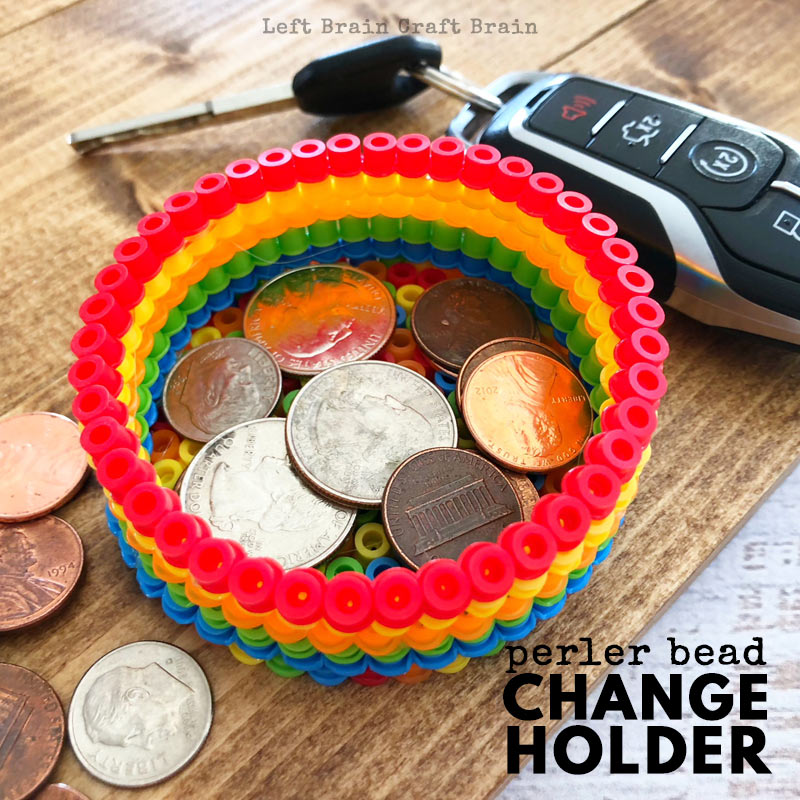 perler bead change holder rainbow colored perler beads dish with coins and keys