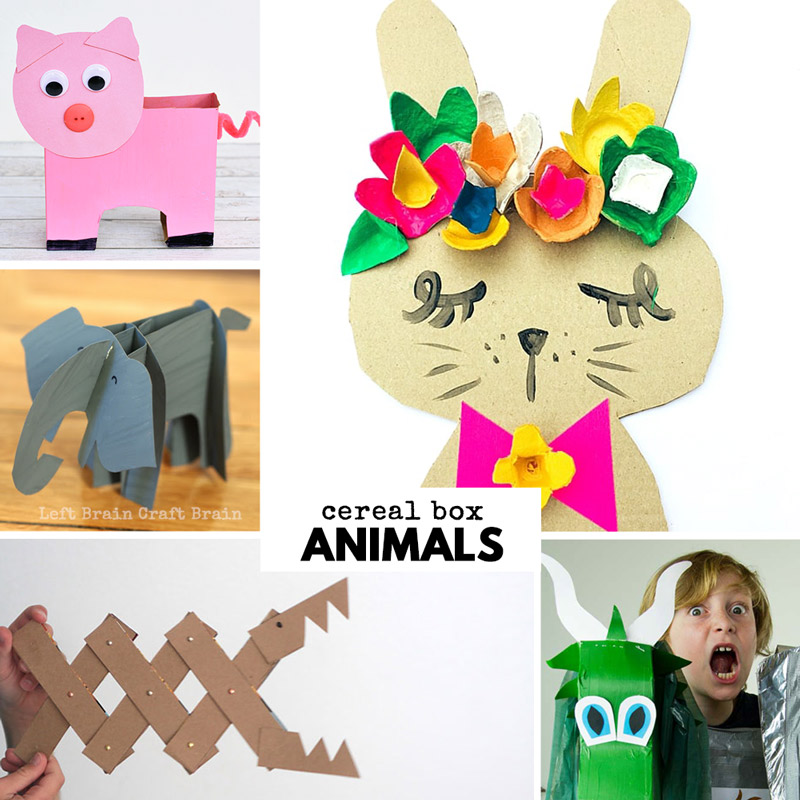 cereal box animal crafts