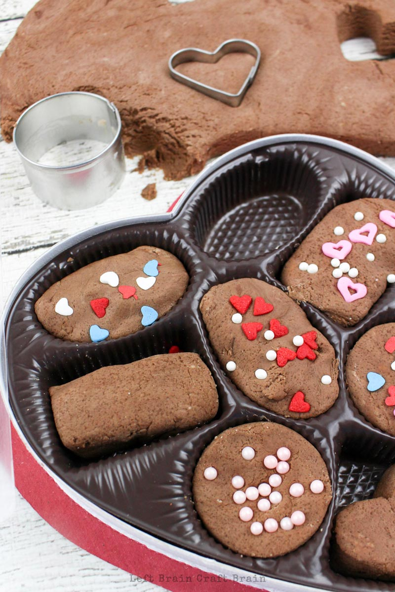 chocolate play dough in chocolate box