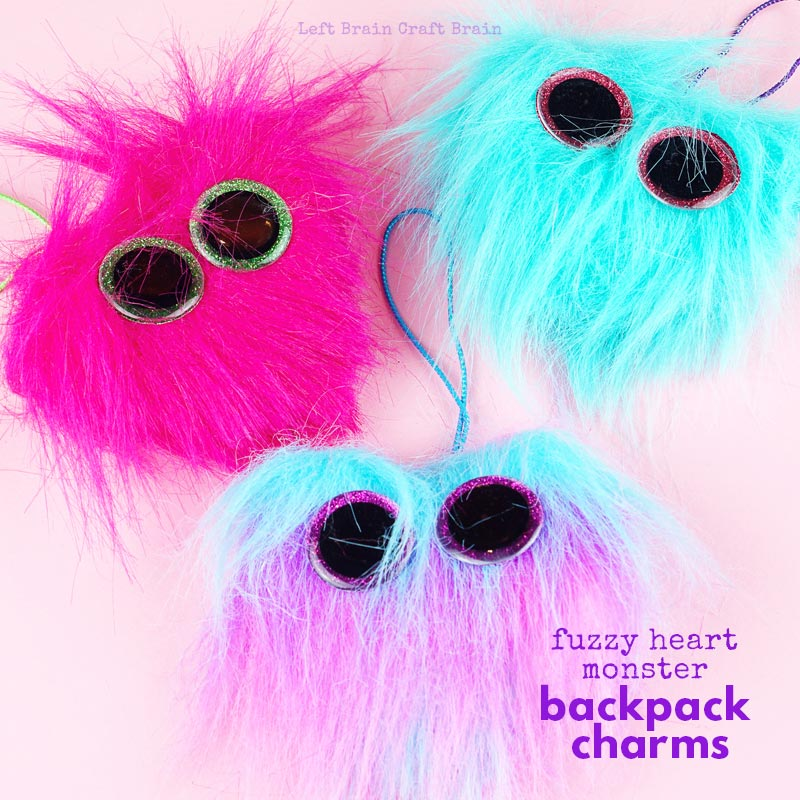 Kids will love wearing (and making!) these adorable Fuzzy Heart Monster Backpack Charms. They're a fun gift for Valentine's Day, birthdays, or any day of the year. Plus, learn how to make Beanie Boo glitter eyes, too!