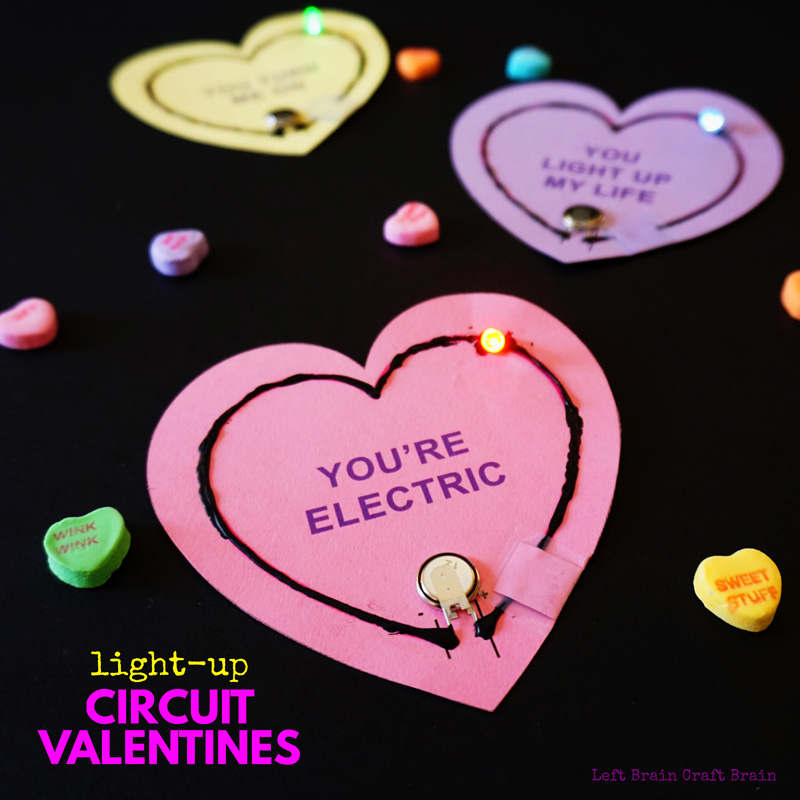 Build a light-up Valentine with this free conversation heart printable, electric paint & LED's. Great STEM activity for aspiring electrical engineers.