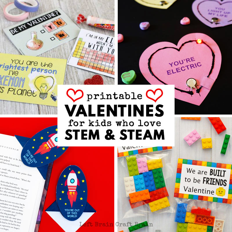 image regarding Printable Valentines Pictures titled Printable Valentine Playing cards for Little ones Who Take pleasure in STEM and STEAM
