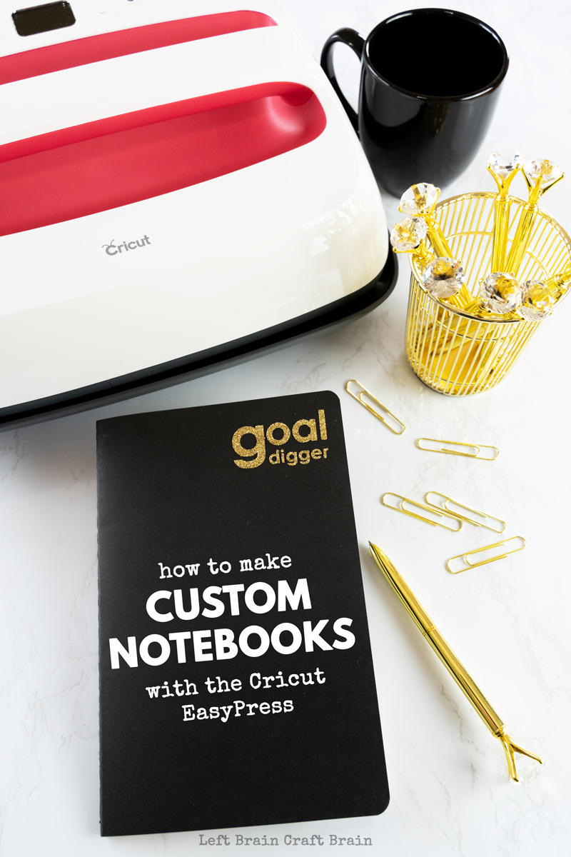 Inspire your next big success with the Goal Digger custom notebooks. The cool journals are super easy to make with a Cricut EasyPress and Cricut Maker and HTV iron-on vinyl. Perfect for bullet journaling, travel journals, daily affirmations, and more.