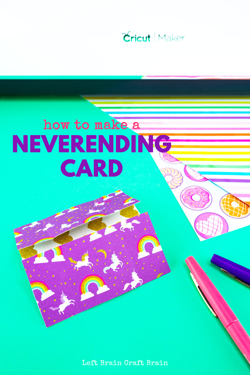 A neverending card is a fun card that moves! Think homemade card meets fidget meets origami. It's a perfect paper craft for kids and adults and totally customizable with card stock or your own designs. A Cricut machine makes it even easier.