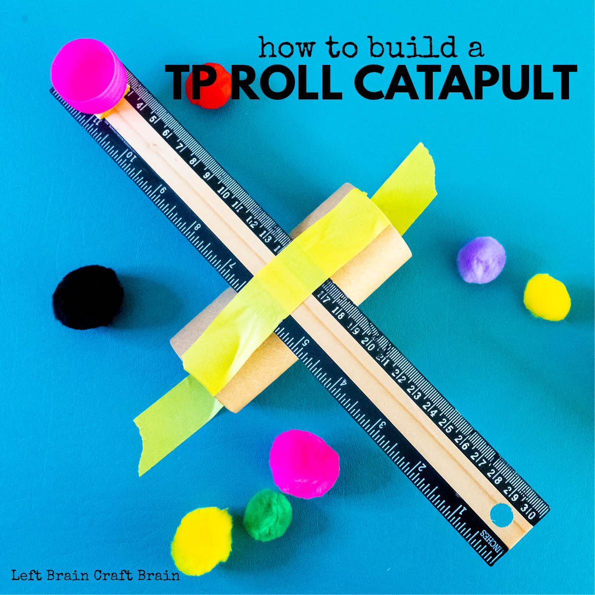This Toilet Paper Roll Catapult is a fun STEM project for little kids or quick building sessions. Just raid your recycling bin and have fun!