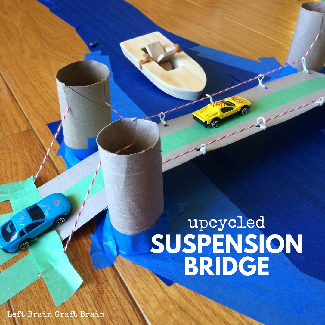 toilet paper roll and cardboard upcycled suspension bridge